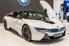 Automobile scoperta a due posti elettrica di BMW i8, automobile amichevole di eco di EV manifatturiera e di marketing da BMW fotografie stock
