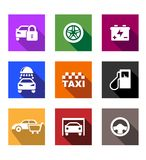 Automobile and service flat icons or web buttons Royalty Free Stock Photo