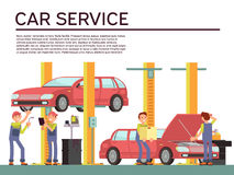 Automobile service and vehicle check vector background with car and mechanics in uniform. Repair car in service garage illustration vector illustration