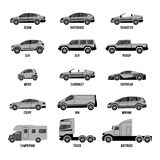 Automobile set isolated. Car models of different sizes or capabilities. Automobile set isolated on white. Machines models of different sizes or capabilities Royalty Free Stock Photography
