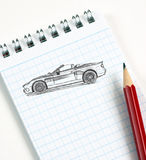 Automobile sketch in pencil Royalty Free Stock Photos