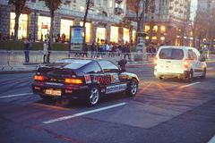 Automobile slalom and drift competitions in the city center, car on the road with cones Stock Photography