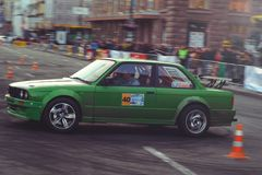 Automobile slalom and drift competitions in the city center, car on the road with cones Stock Photos