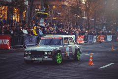 Automobile slalom and drift competitions in the city center, car on the road with cones Stock Image