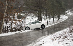 Automobile slid off icy country road_2 Stock Images