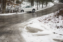 Automobile slid off icy country road Stock Photos