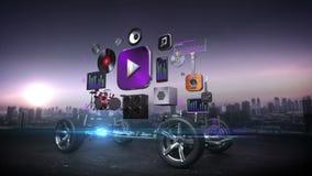 Automobile smontata, audio video sistema dell'automobile, spettacolo dell'automobile, pannello di navigazione, tecnologia futura  illustrazione di stock