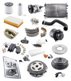 Automobile spare parts. Collection of various spare car parts isolated on white Stock Photography