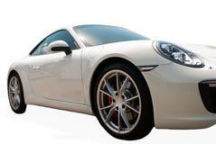 Automobile sportiva bianca su fondo bianco Fotografie Stock Libere da Diritti