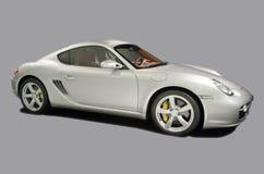 Automobile sportiva bianca su priorità bassa grigia Immagini Stock Libere da Diritti