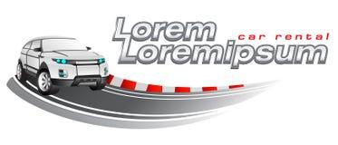 Automobile sportiva che corre, modello di logo di vettore Immagini Stock
