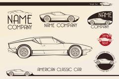 Automobile sportiva classica americana, siluette Fotografia Stock Libera da Diritti