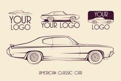 Automobile sportiva classica americana, siluette, logo Fotografia Stock
