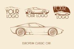 Automobile sportiva classica europea, siluette Immagini Stock