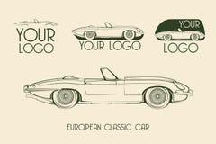 Automobile sportiva classica europea, siluette Fotografia Stock Libera da Diritti