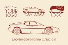 Automobile sportiva classica europea, siluette, logo Fotografie Stock