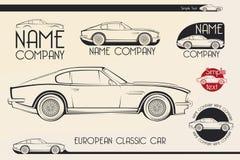Automobile sportiva classica europea, siluette, logo Immagine Stock
