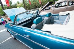 Automobile sportiva d'annata di colore del cielo blu nei saloni dell'automobile classici il giorno dell'Australia Immagine Stock Libera da Diritti