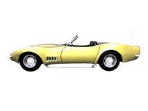 automobile sportiva dell'oro 3D su bianco Immagini Stock Libere da Diritti