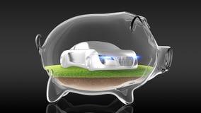 Automobile sportiva di concetto dentro il porcellino salvadanaio trasparente rappresentazione 3d Immagini Stock