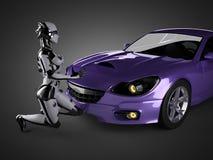 Automobile sportiva e robot brandless di lusso della donna Fotografie Stock