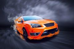 Automobile sportiva in fuoco Fotografia Stock Libera da Diritti