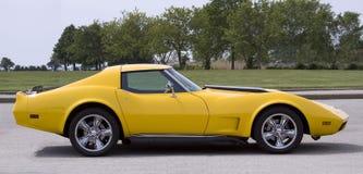 Automobile sportiva gialla dell'annata Immagine Stock Libera da Diritti