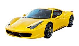 Automobile sportiva gialla isolata Fotografia Stock Libera da Diritti