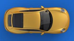 Automobile sportiva L'immagine di un'automobile gialla di sport su un fondo blu illustrazione 3D Fotografia Stock