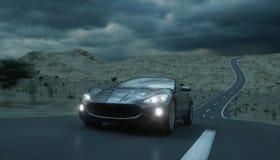 Automobile sportiva nera sulla strada, strada principale Azionamento molto veloce rappresentazione 3d Fotografia Stock