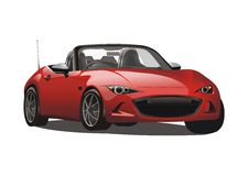 Automobile sportiva rossa realistica di vettore Immagine Stock