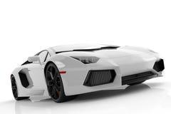Automobile sportiva veloce metallica bianca sullo studio bianco del fondo lucido Fotografie Stock Libere da Diritti