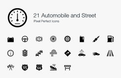 21 Automobile and Street Pixel Perfect Icons Royalty Free Stock Photography