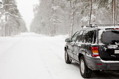 Automobile su un sentiero forestale nevoso Fotografie Stock Libere da Diritti