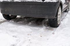 Automobile sulla neve Fotografia Stock