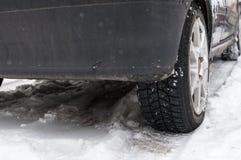 Automobile sulla neve Fotografia Stock Libera da Diritti
