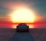 automobile sulla spiaggia con una coppia Immagine Stock
