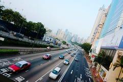 Automobile sulla strada, Hong Kong Fotografia Stock Libera da Diritti