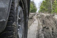 Automobile sulla strada non asfaltata della palude immagini stock