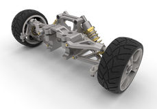 Automobile suspension. 3D render illustration of an automobile suspension. The composition is  on a white background with shadows Stock Photo