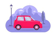 Automobile sveglia sul fondo della siluetta della città Automobile rosa su fondo monocromatico porpora Illustrazione di concetto  illustrazione vettoriale