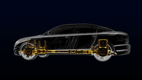 Automobile Technology. Drive shaft system, Engine, interior seat. X-ray 360 degree Side view. 3D royalty free illustration