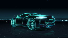 Automobile Technology. running car. 360 X-ray view.