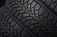 The automobile tire on black background Royalty Free Stock Images