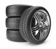 Automobile tire. Wheel 3D, Icon  Stock Image