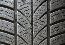 Automobile tire with winter profile grooves stock image