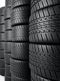 Automobile tires. 3d rendering Tire stacking (close-up,depth of field Royalty Free Stock Image