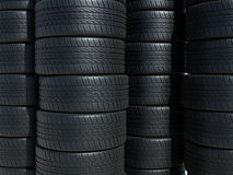 Automobile tires. 3d rendering Tire stacking (close-up Royalty Free Stock Image