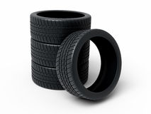 Automobile Tires render Stock Photography