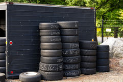 Automobile tires stacked ready for use Royalty Free Stock Image